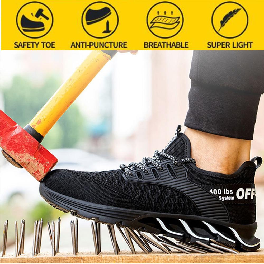 سلامة التأمين أحذية الرجال مكافحة تحطيم حماية سلامة المرأة الصيف تنفس مزيل العرق عدم الانزلاق أحذية أمان رجالي