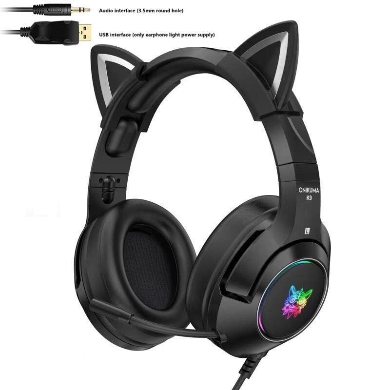 Fones de Ouvido Luminoso do Telefone Nova Versão Demônio Preto Gato Orelha Menina Jogos Rgb Móvel Computador Redução Ruído Fone Ouvido k9