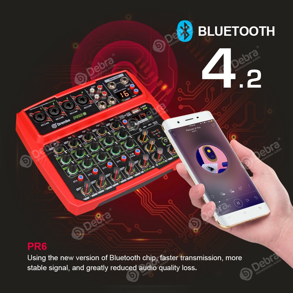 PRO PR6 6channel Protable digital audio mixer console with 16 DSP effect Sound Card,bluetooth, USB, for Karaoke DJ PC Recording enlarge