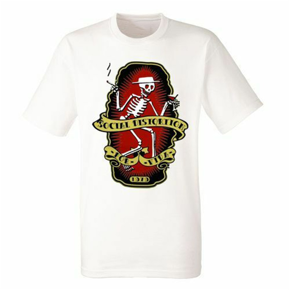 Social Verzerrung Por Vida Weiß Herren T-Ahirt Männer Rock Band Harajuku Hip Hop T-shirt