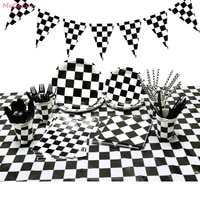 racing car disposable tableware plate cups table cloth cake topper bunting happy birthday party decor black white grid tableware