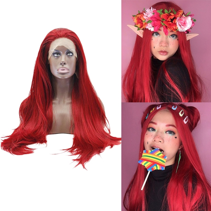 Anogol Long Straight Red Hair Wigs High Temperature Fiber Synthetic Lace Front Wig for Women Drag Queen 13*1 Part