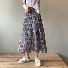 chiffon floral skirts female spring a-line skirt 1820#