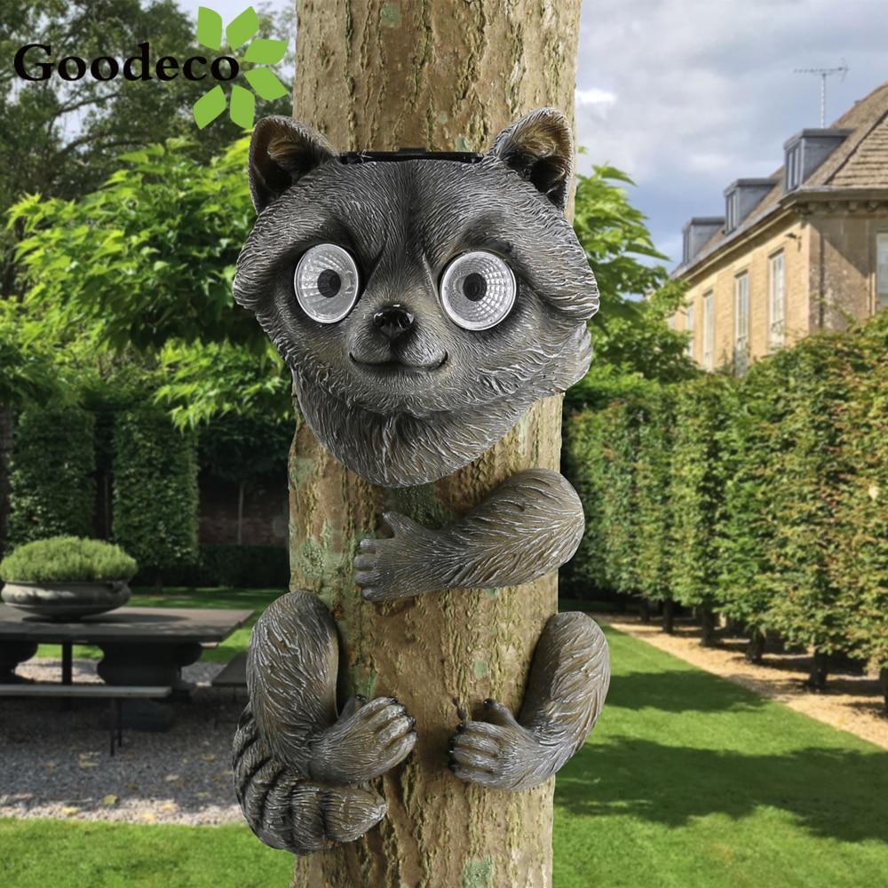 Goodeco, accesorios de decoración para árboles de jardín, estatuas de mapache, árbol Hugger, artesanías solares, jardín, decoración al aire libre, estatuilla de animales