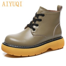 AIYUQI Genuine Leather Martin Boots Women Spring Thick-soled Lace-up 2021 New Retro Platform Ankle B