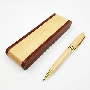 One Set Wood Ball Pen With Pencil Case 0.5 mm Black Ink Refill Ballpoint Pen Writing Materials Creataive Office School Supplies