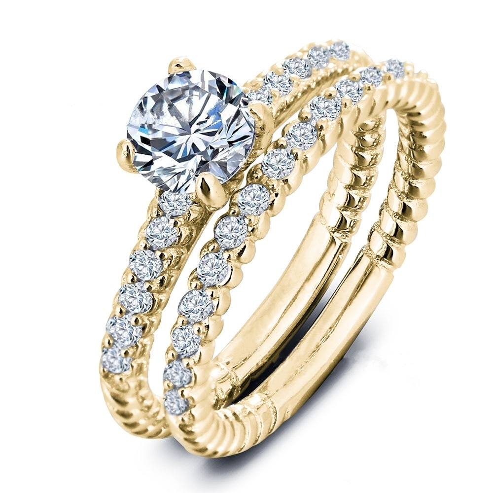 Fdlk moda feminina natural branco cristal anel conjunto nupcial casamento jóias tamanho 5 - 10