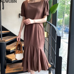 Retro 2021 New Summer Women's Wear Square Neck Simple Fresh Pure Color Fishtail Splicing Fashion Elegant Party Holiday Dress