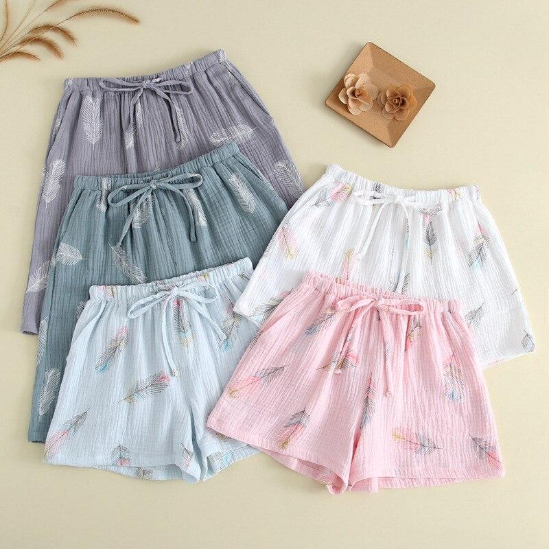 New Summer Couple 100% Cotton Gauze Crepe Shorts Feather Printing Lounge Sleep Shorts Men and Women