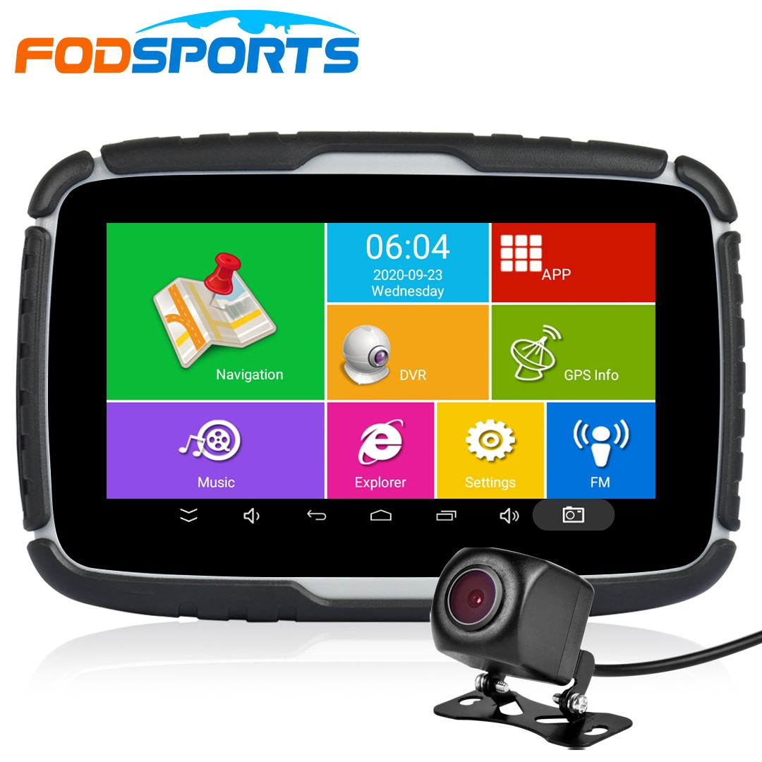 Fodsports 5.0inch Motorcycle GPS Navigation Free Map Android System 6.0 WIFI Bluetooth Moto Navigator Car Recorders DVR Camera