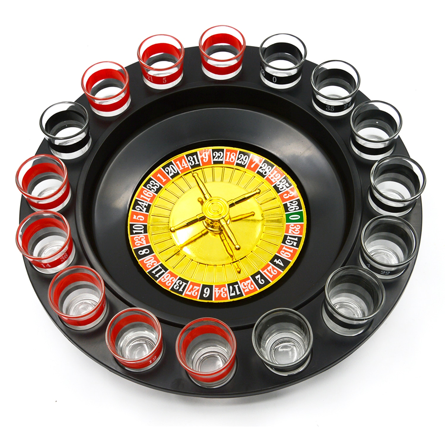 Besegad Spin Shot Glass Russian Roulette Wheel Turntable Fun Table Drinking Game Set with 2 Balls 16Glasses Novelty Drinking Set enlarge