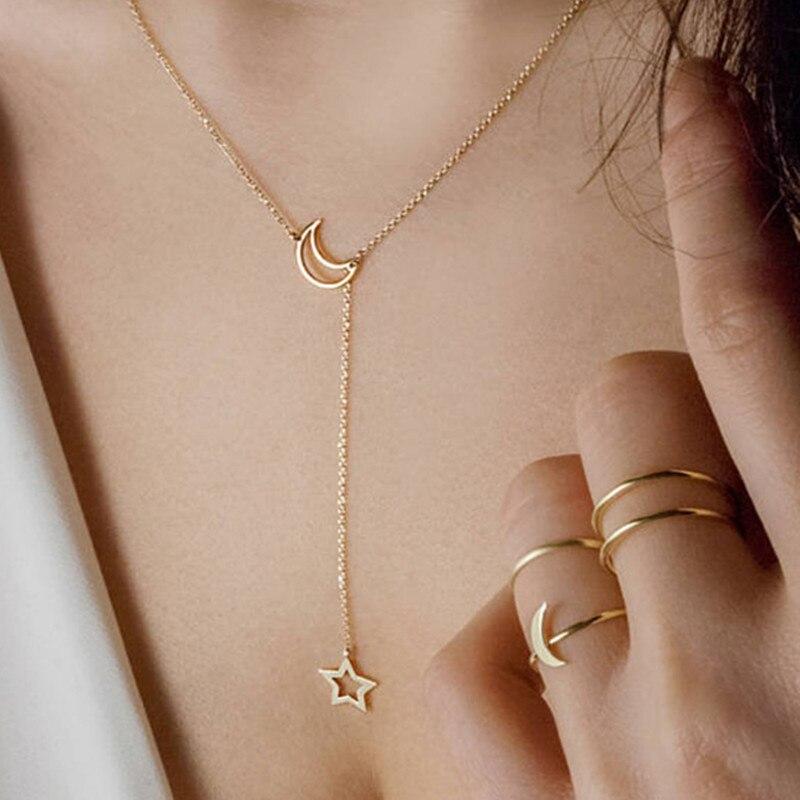 Европейская-и-американская-мода-женское-ожерелье-с-подвеской-в-виде-дикой-Луны-и-звезды
