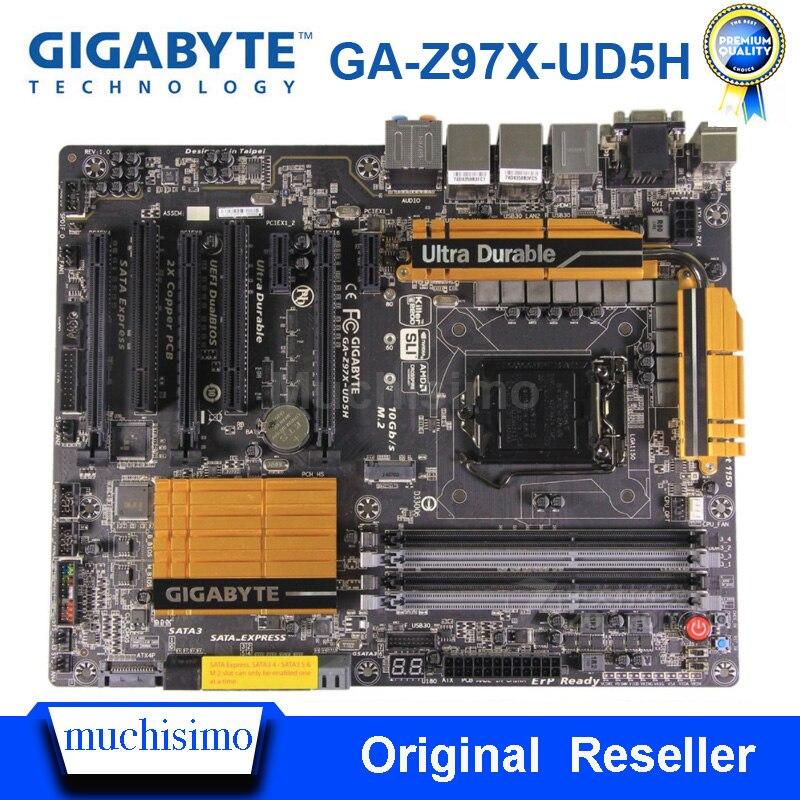 LGA 1150 ل GA-Z97X-UD5H اللوحة DDR3 SATA3.0 USB3.0 i7 i5 i3 VGA DVI CrossFire إنتل Z97 الألعاب بلاسا-mp2 e 1150 Z97 المستخدمة