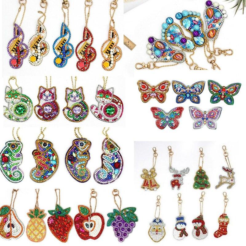 4/5 pçs diy broca completa especial em forma de diamante pintura chaveiro gato borboleta presentes chaveiro natal bordado daimond artesanato