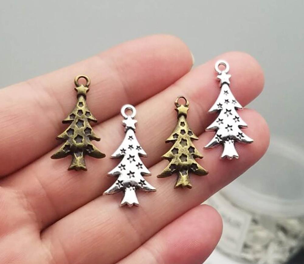 30 pçs/lote -- 28x14mm, Antique bronze/prata banhado encantos Da Árvore de Natal, material de BRICOLAGE, acessórios de Jóias