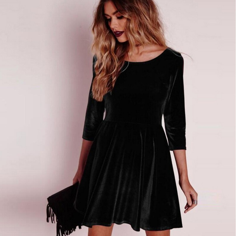 GAOKE New Women Swing Hem Velvet Dress Autumn Ladies Party Mini Dress Vestidos Velour Dress Long Sleeve Slim Tops