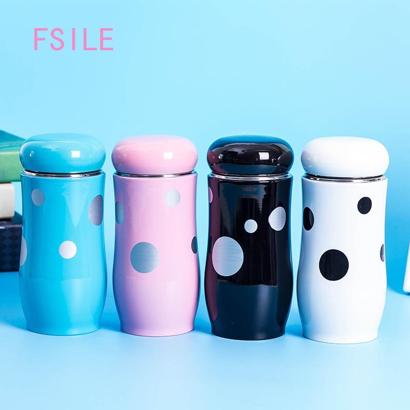 Preciosa taza de seta de dibujos animados a la moda de FSILE, Copa con gran barriga para estudiantes, Copa con aislamiento, Mini vaso práctico portátil para exteriores