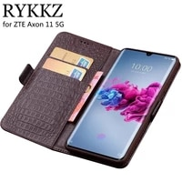 rykkz case for zte axon 11 5g luxury wallet genuine leather case for zte axon 10 stand flip card phone book cover bags