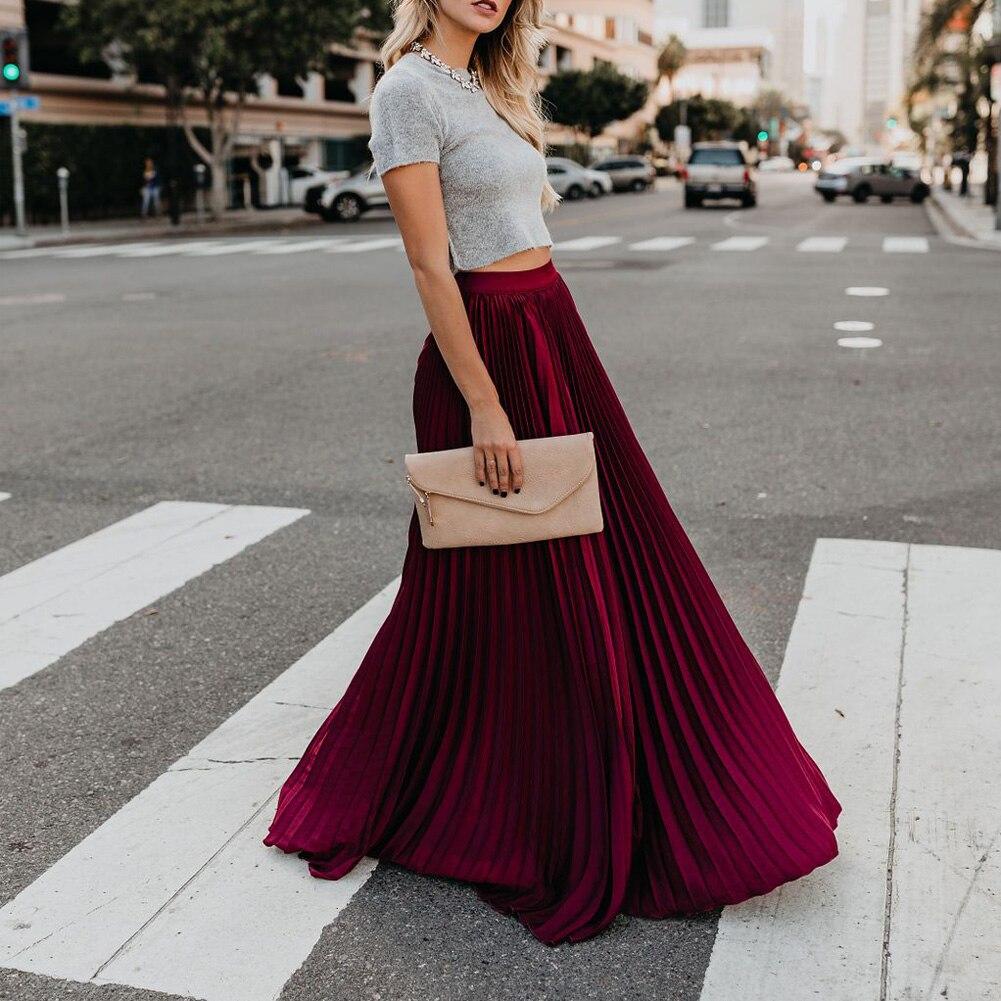 Nuevo 2020 mujeres Boho gasa largo Maxi falda dama playa cintura alta Falda plisada Causal vestido Mulheres Do Partido Boho Praia