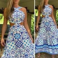 print beach long dress 2021 summer feminine halter neck halter retro sleeveless new beach sun dresses