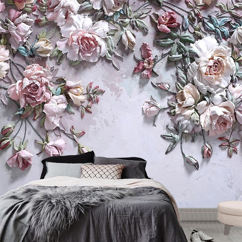 beibehang pastoral flowers wallpaper for walls 3d wall paper for wall 3 d classic embossed tv room bedroom wall paper home decor 3D Wallpaper Modern Stereo Rose Flowers Photo Wall Murals Living Room TV Sofa Bedroom Home Decor Wall Paper For Walls 3 D Fresco