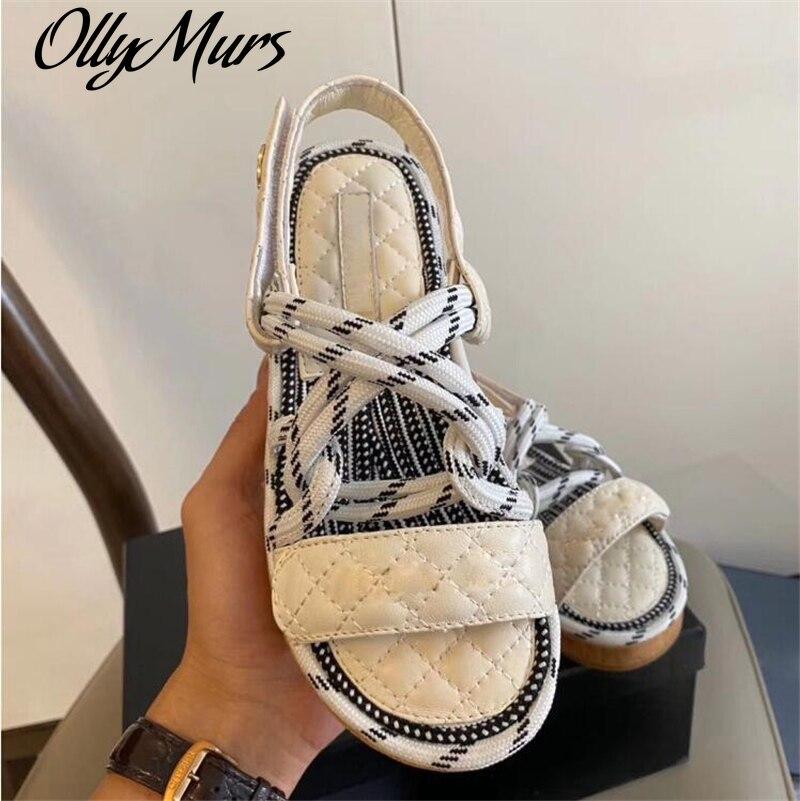 Ollymurs Brand Designer Summer Shoes Woman Flat Sandal Hemp Rope Loop Sandals Women Beach Genuine Le