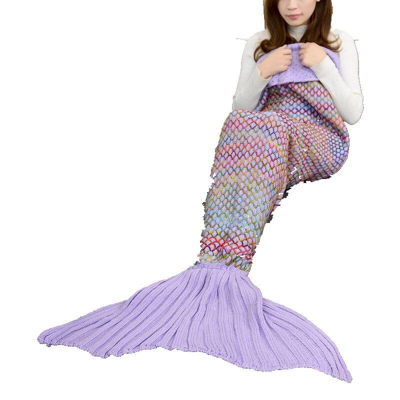 CAMMITEVER-بطانية ذيل حورية البحر محبوكة ، للبالغين والمراهقين والأطفال ، كروشيه ، مرتبة ، جميع الفصول