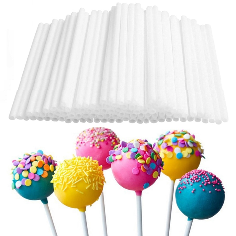 80 unids/pack 10cm palo de Piruleta de alimentos grado Pop de plástico tonto palitos para colocar en pasteles para Lollypop Chocolate caramelo azúcar Polo bricolaje molde