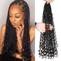 24inch braids crochet hair faux locs synthetic straight mix curly barids ombre brown colored for black women soft dreadlock