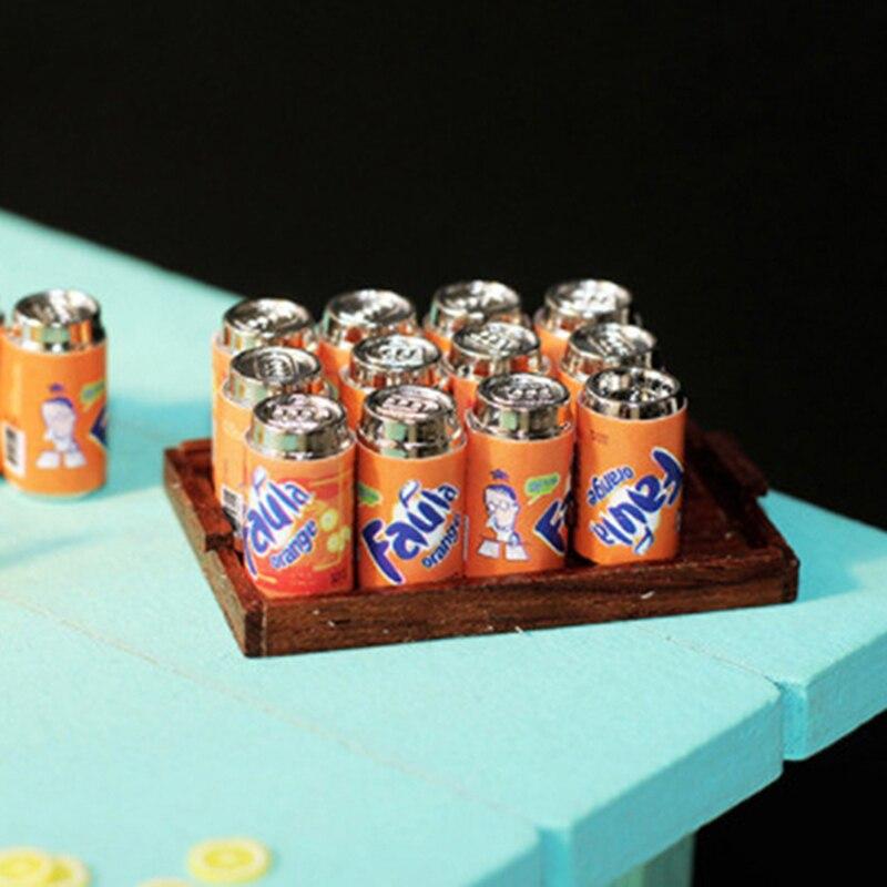 Mini canette métallique en forme de boisson, 6 pièces, modèle de maison de poupée, supermarché Miniature, nourriture pour maison de poupée, autocollants, nouveau