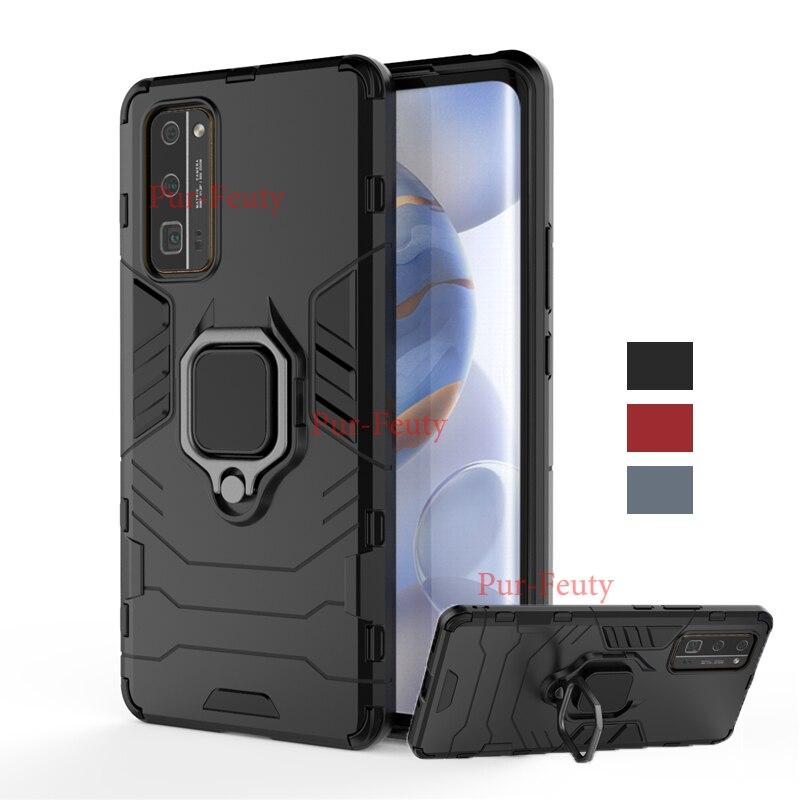 Bumper Caixa do telefone Para Huawei Honra 30 Cobertura Pro Caso Honra 30S V30 30 Pro Plus Anel Magnético Titular armadura de Silicone tampa Do Telefone