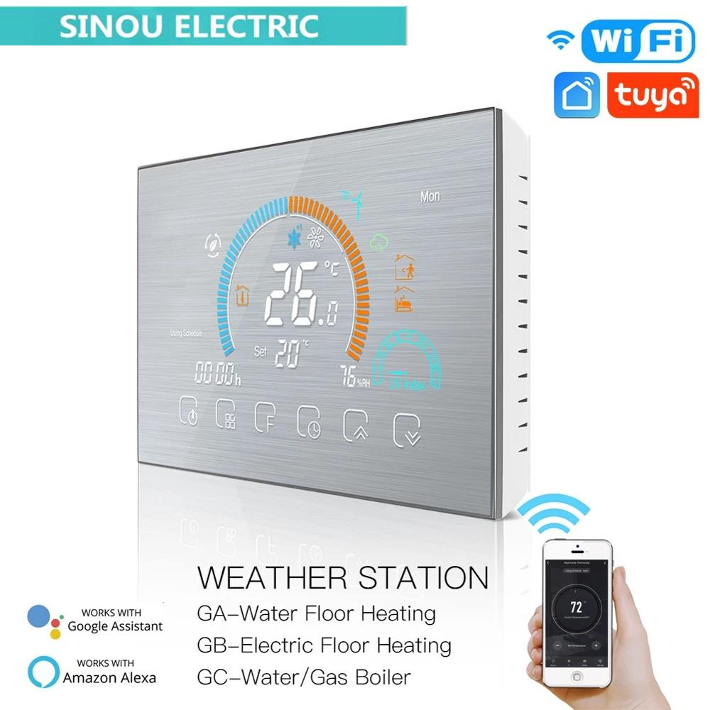 combo bluetooth wireless magnetic monitor smart sensor data logger temperature humidity controller thermostat weather station Programmable Thermostat with WiFi Underfloor, Temperature Controller, Weather Station, Gas Boiler, Smart Voice Control, Tuya, Al