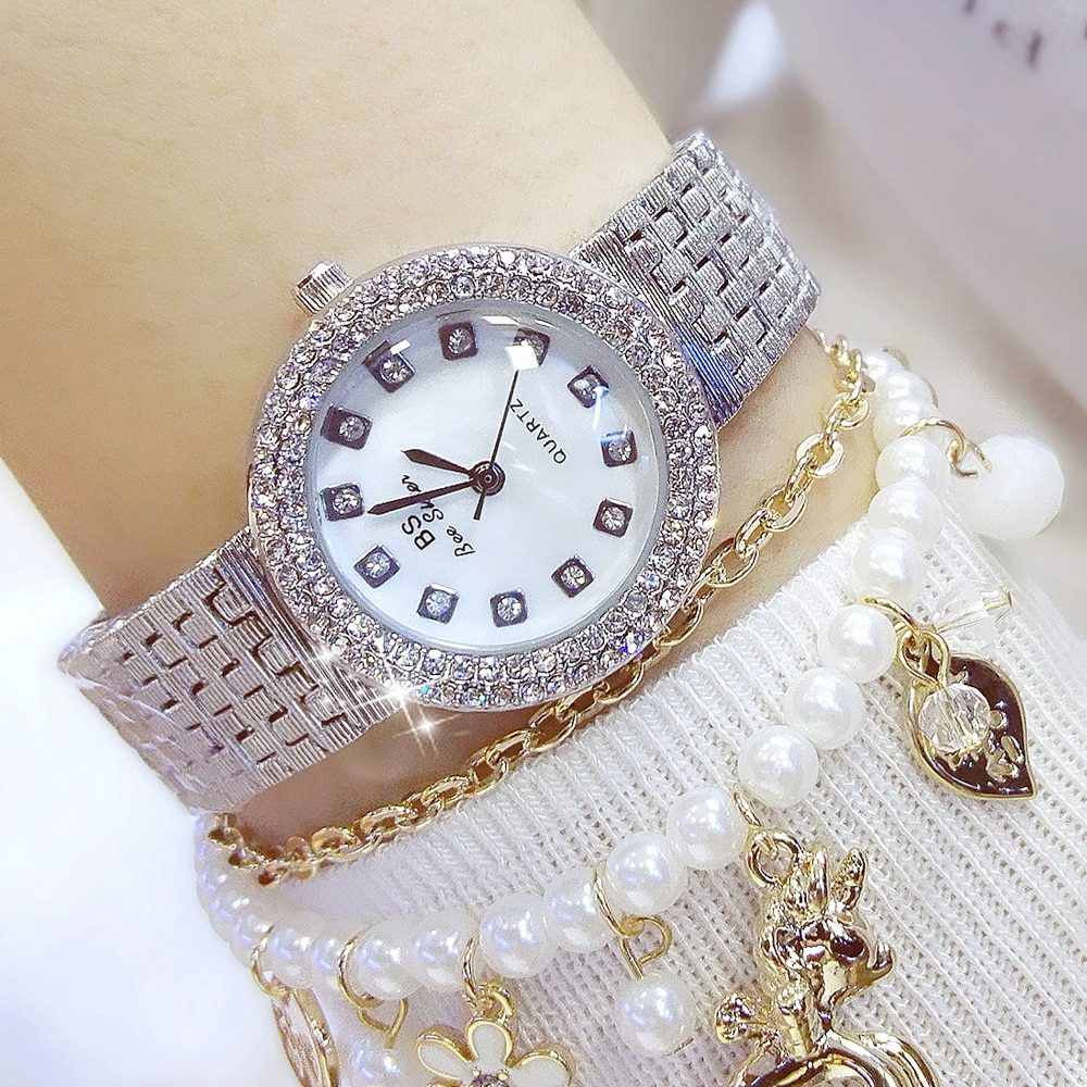 Bs Brand Fashion Women's Watches Diamond Quartz Wristwatches Business Simple Korean Clock Magazine Women's Relojes Mujer enlarge
