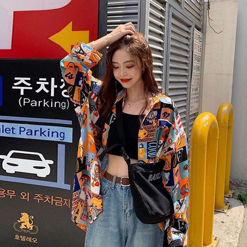 Blouses for Women Shirt Printed Harajuku Vintage Style Longsleeve Fashion Spring