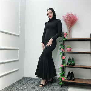 Clearance Solid Trumpet Long Dress Round Neck Long Sleeve Muslim Bottoming Mermaid Dresses for Open Abaya and Kimonos Black