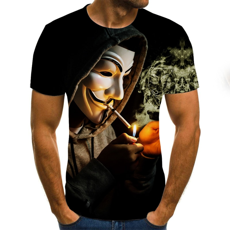2021 New Clown T-shirt Men's Clown Face Tops Funny Clown Shirt Round Neck Fashion Streetwear 3D Clow
