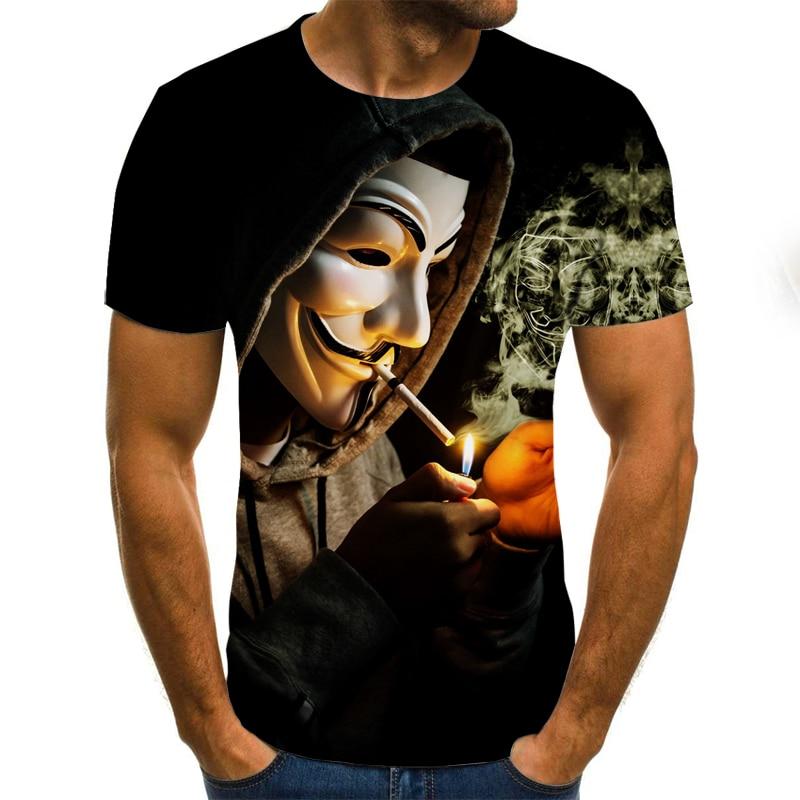 2021 New Clown T-shirt Men's Clown Face Tops Funny Clown Shirt Round Neck Fashion Streetwear 3D Clown Short Sleeve Sleeve Style