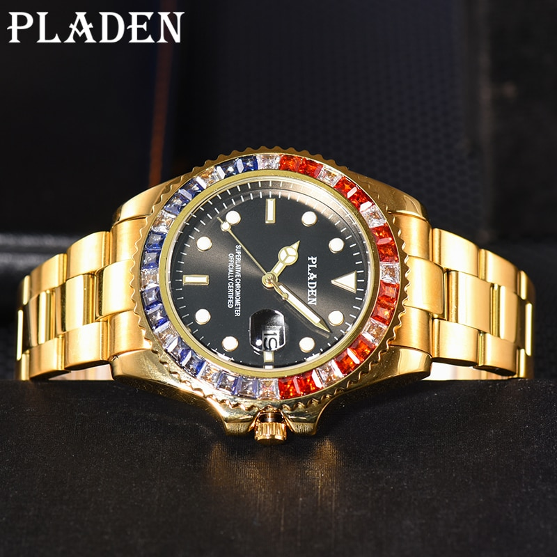 PLADEN Men's watches Luxury Gold Male Waterproof Luminous Quartz Wristwatch Sapphire Glass Business Style Clock AAA Dropshipping