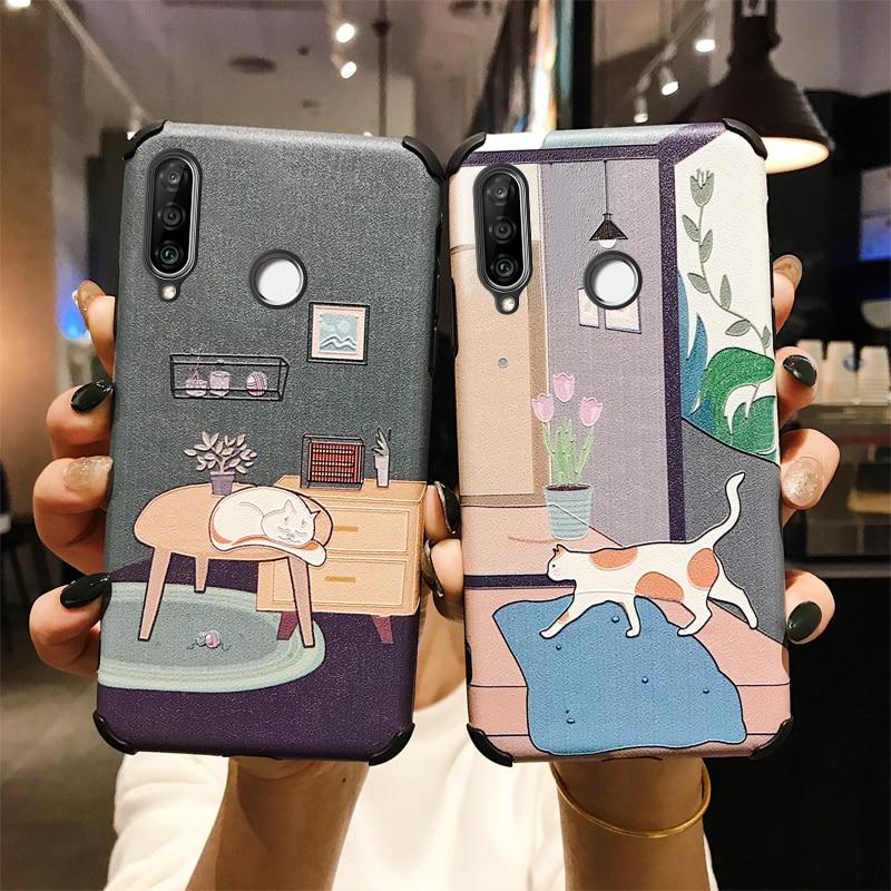 3D Relief Cartoon Cat Phone Case For Huawei Y9 Prime 2019 Honor 8X Max 9X 10i 9 10 20 Pro Nova 5 5i 4 4e P30 Lite Mate 30 Cover