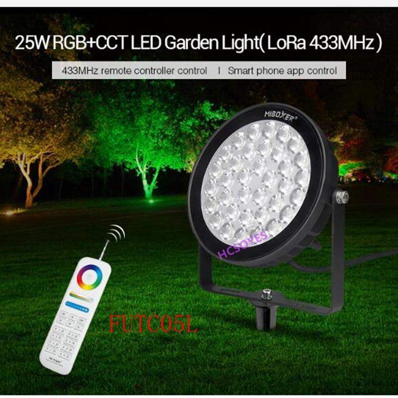 FUTC07 100W RGB + AAC luz LED para jardín modelo AC100 ~ 240V 50/60Hz 2700K ~ 6500 IP65 impermeable RF 2,4 GHz distancia de Control 30m