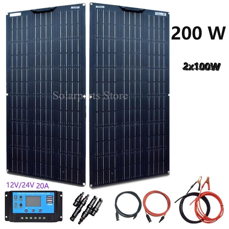 BOGUANG Panel Solar celular 200W 12V 24V 100W 2 uds Flexible sistema fotovoltaico CE 20A Cable de controlador envío gratis de China