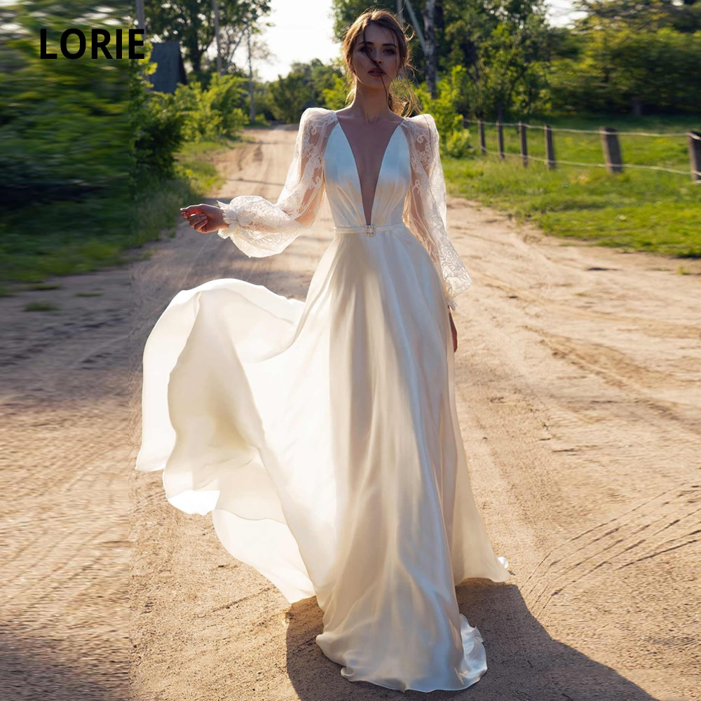 LORIE Satin Beach Wedding Dresses Sexy V-Neck Lace Bridal Gowns Long Sleeve illusion Open Back Bohemian Bride Dress Plus Size sexy summer beach wedding dress scoop cap sleeve side slit bridal dresses open back bohemian lace wedding dresses