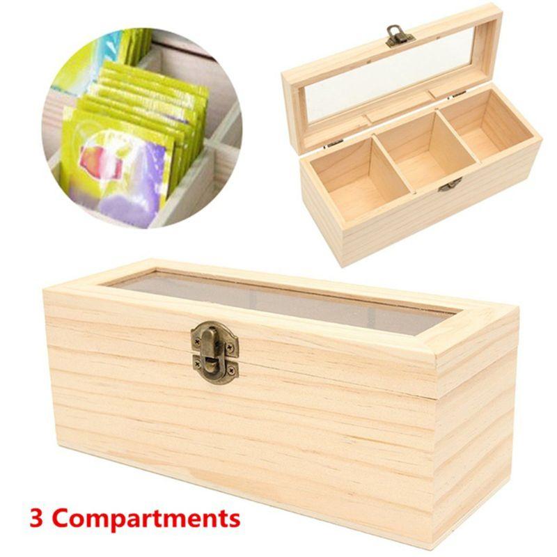 Caja de té de madera con 3 compartimentos, contenedor de almacenamiento, caja de accesorios para joyería
