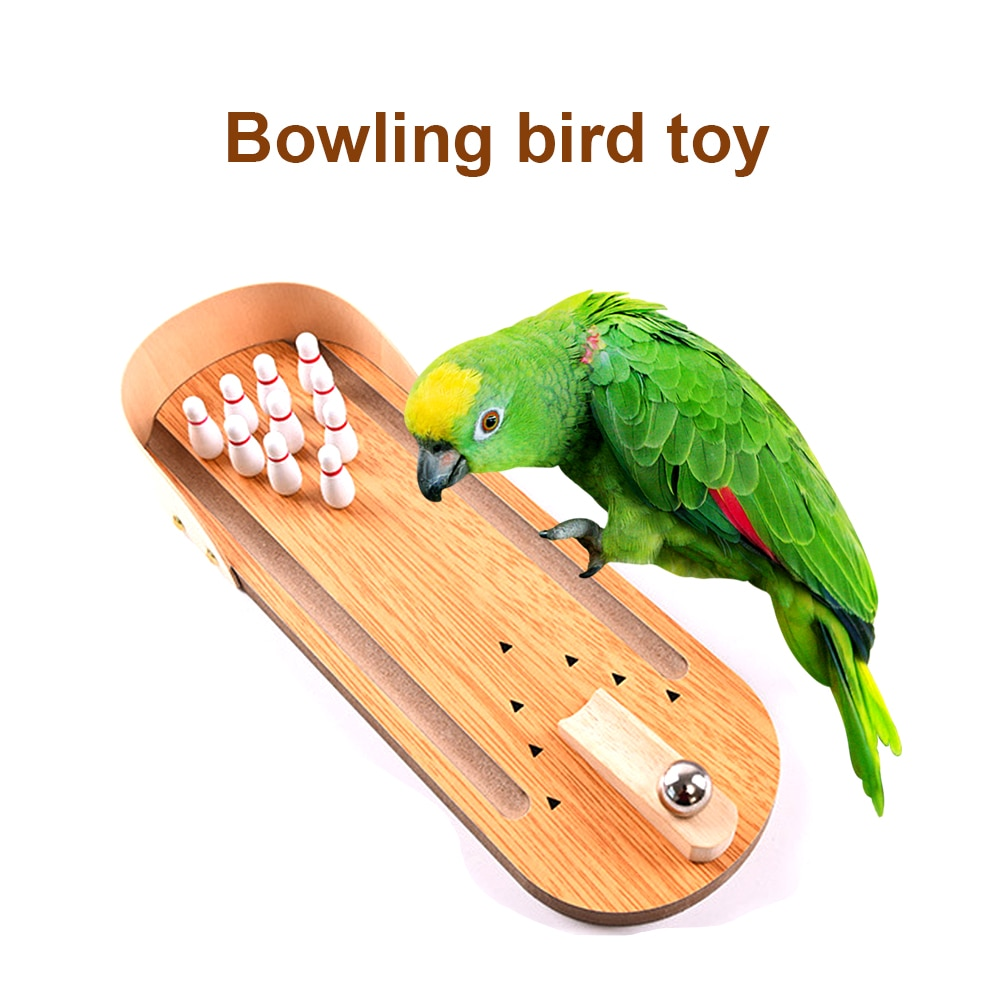 Wood Parrots Toys Bird Bowling Toy Pet Toy Bird Puzzle Toys Bird Parakeet Cage Parrots Training Supplies Birds Accessories