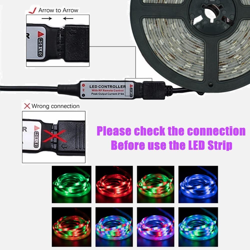 5M LED Light Strip For Bedroom Decoration 2835 RGB Flexible Ribbon Diode Infrared Remote Controller Decor Background Lighting enlarge