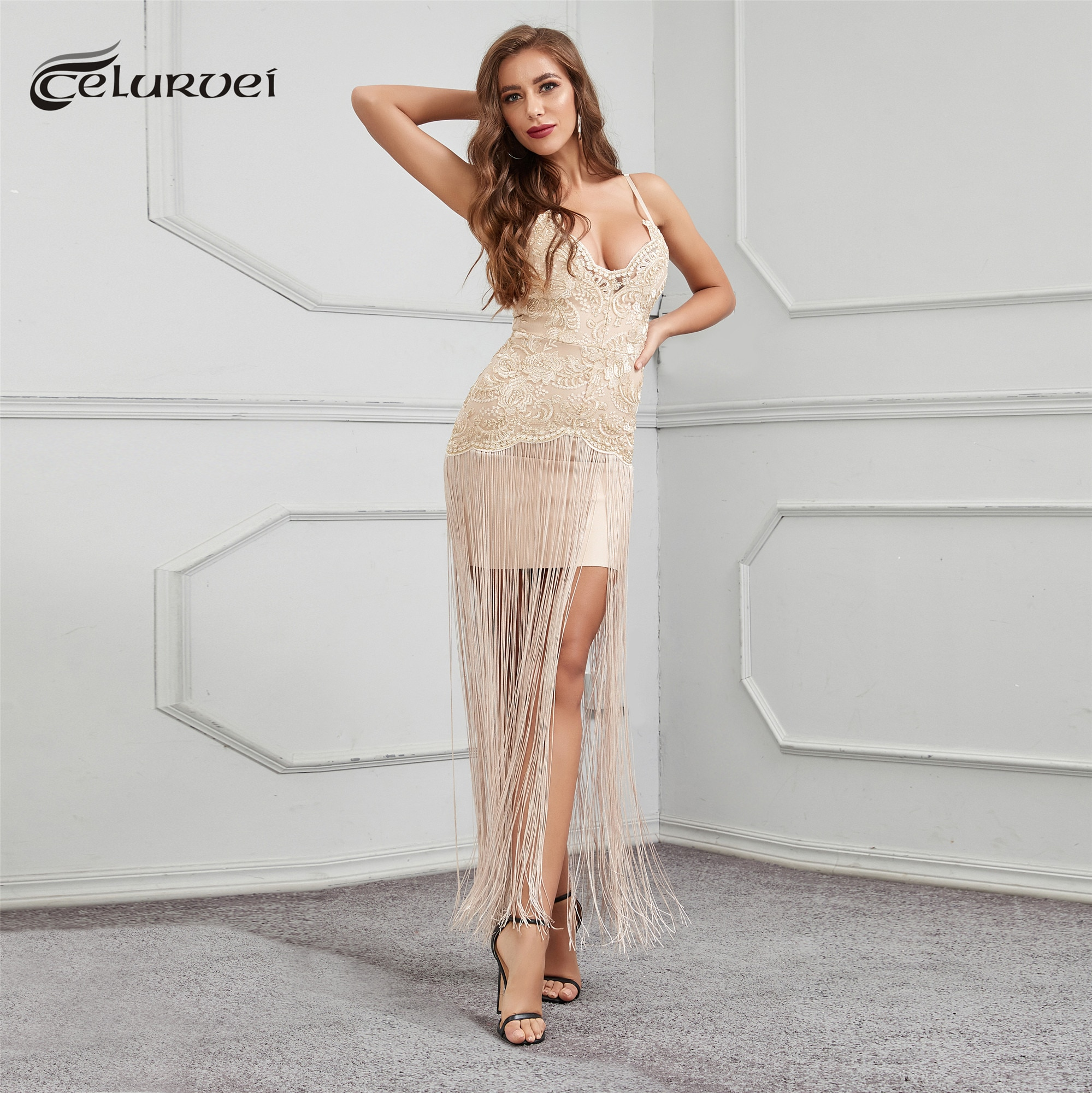 High Quality Black Khaki Slip Lace Tassel Long Rayon Bandage Dress Night Party Bodycon Dress