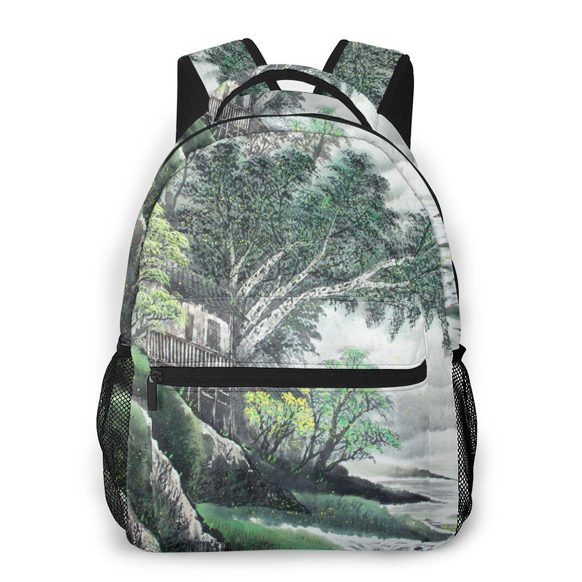 Bolsas de Escola para Meninas Whereisart Montanhas Árvores Tinta Mochila Crianças Ortopédico Escolar