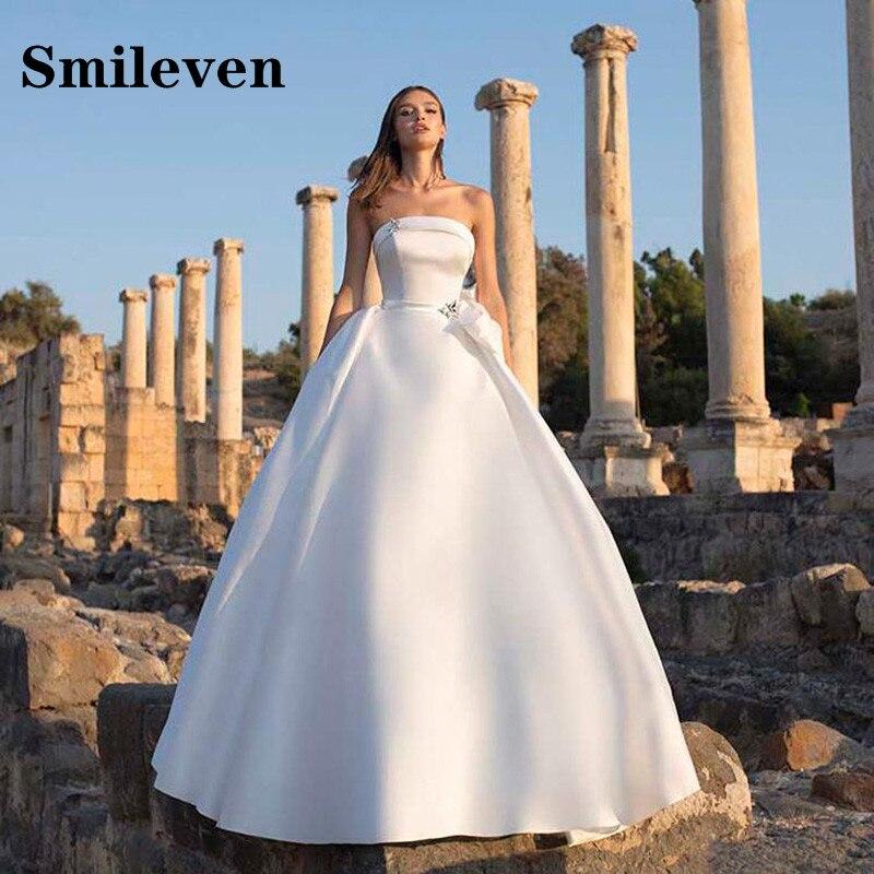 Promo Smileven Princess Wedding Dress Strapless A Line Bridal Gowns Vestido De Noiva With Big Bow