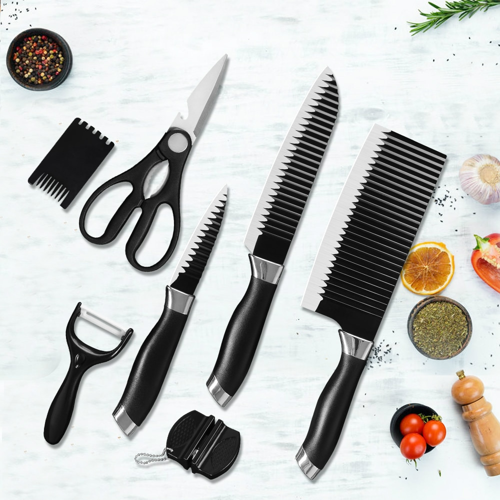 XYj-مجموعة سكاكين مطبخ من الفولاذ المقاوم للصدأ, صندوق هدايا ، 3 ألوان ، مقص ، مقشرة ، سكين طاهي ، 8 بوصة ، سكين تقطيع الخبز
