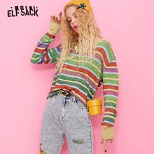 ELFSACK Coloré Rayé Mignon Pull Femmes haut tricoté 2019 Automne V Cou Coréen Surdimensionné Base Girly Pulls